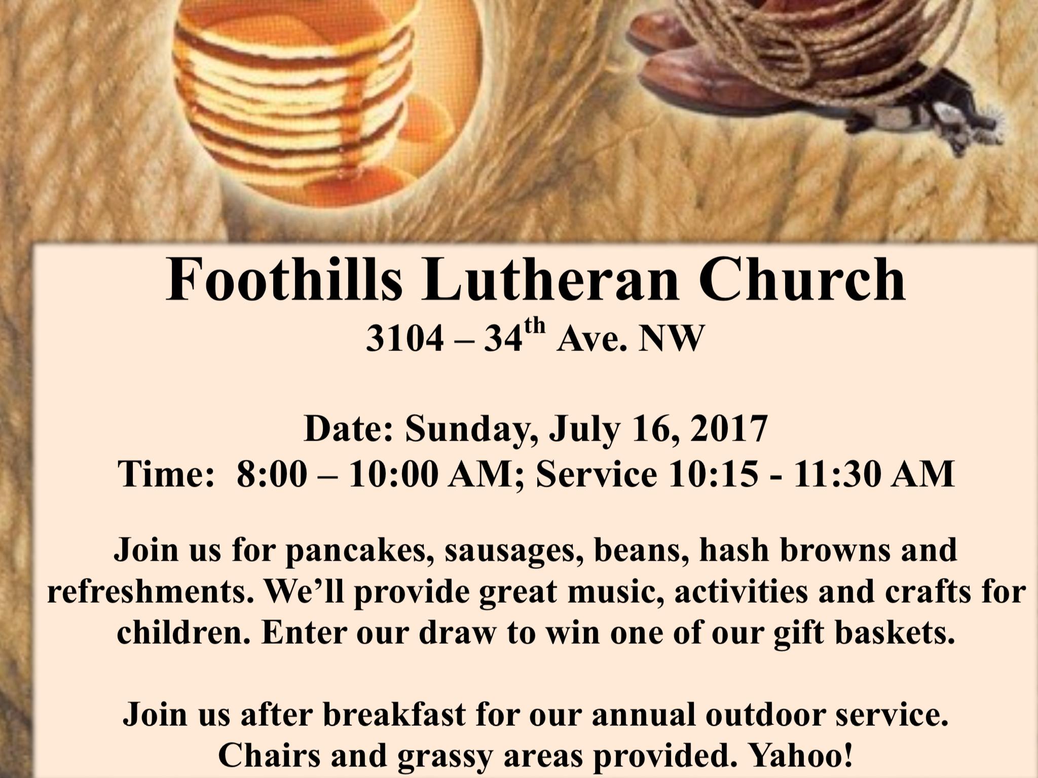 Foothills Lutheran Annual Stampede Breakfast 2017