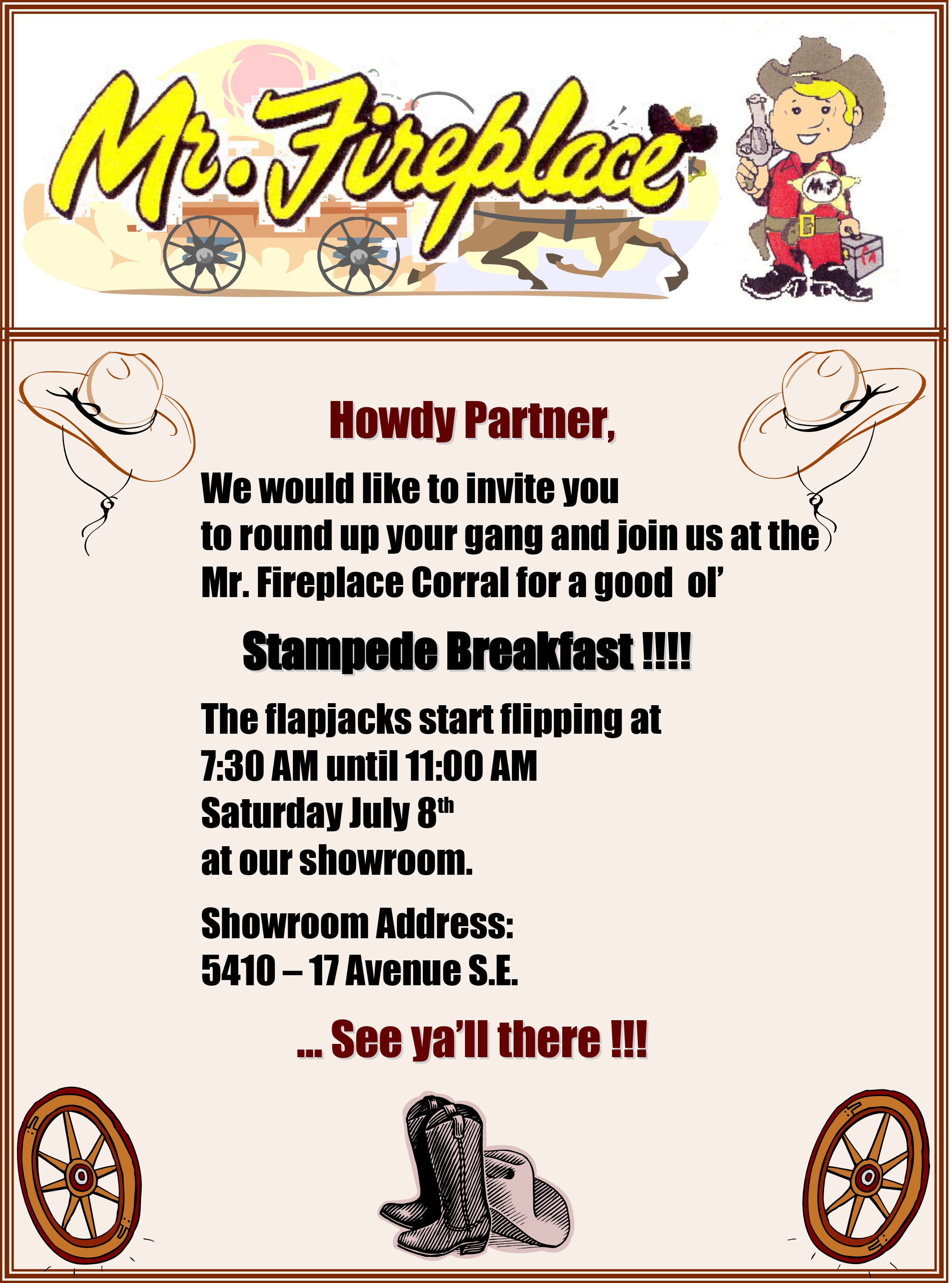 Mr. Fireplace Stampede Breakfast 2017