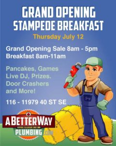 A Better Way Plumbing Grand Opening Stampede Breakfast 2018