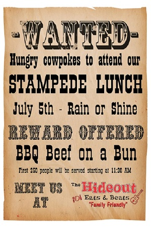The Hideout Stampede Lunch Stampede Breakfast 2019